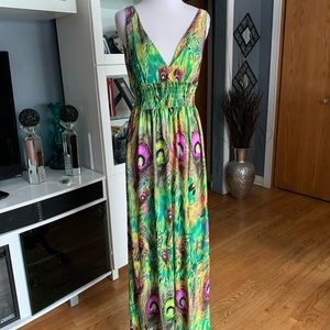 FCNY Peacock Feathers Print Maxi Dress